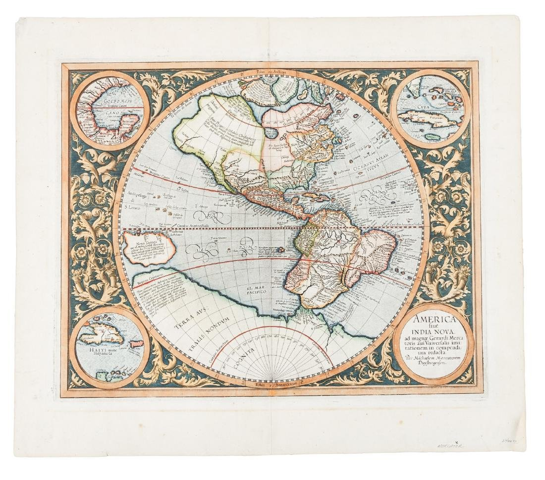 Mercator's map of Americas in 1595