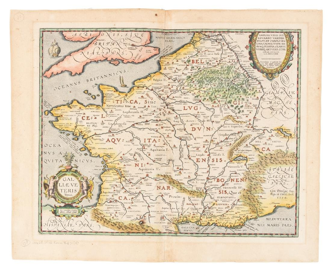 Ortelius map of ancient France 1595