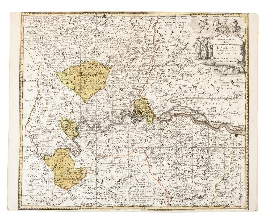 Map of London & vicinity c.1740
