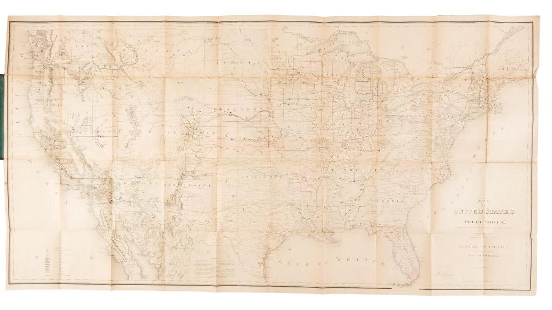 Large Land Office map of U.S. 1868