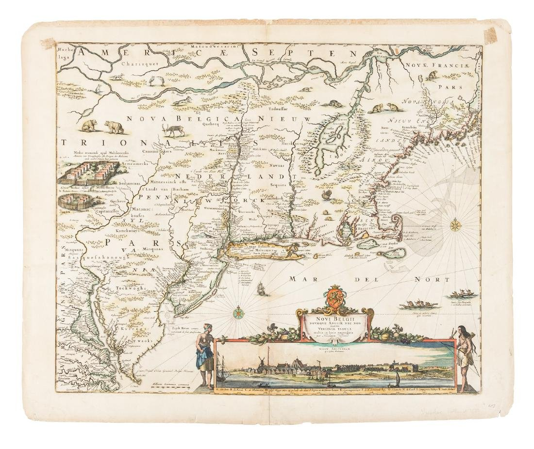 Visscher map of New England with view of NY