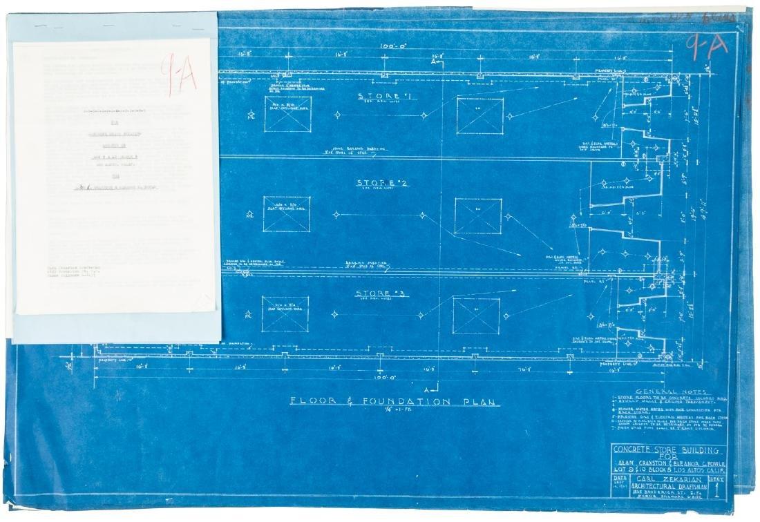 Blueprints for Alan Cranston's concrete store building,