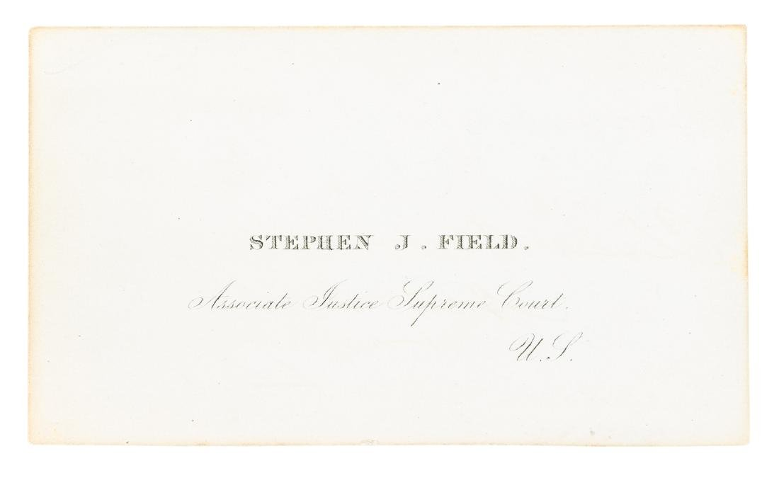 Justice Stephen J. Field signed card