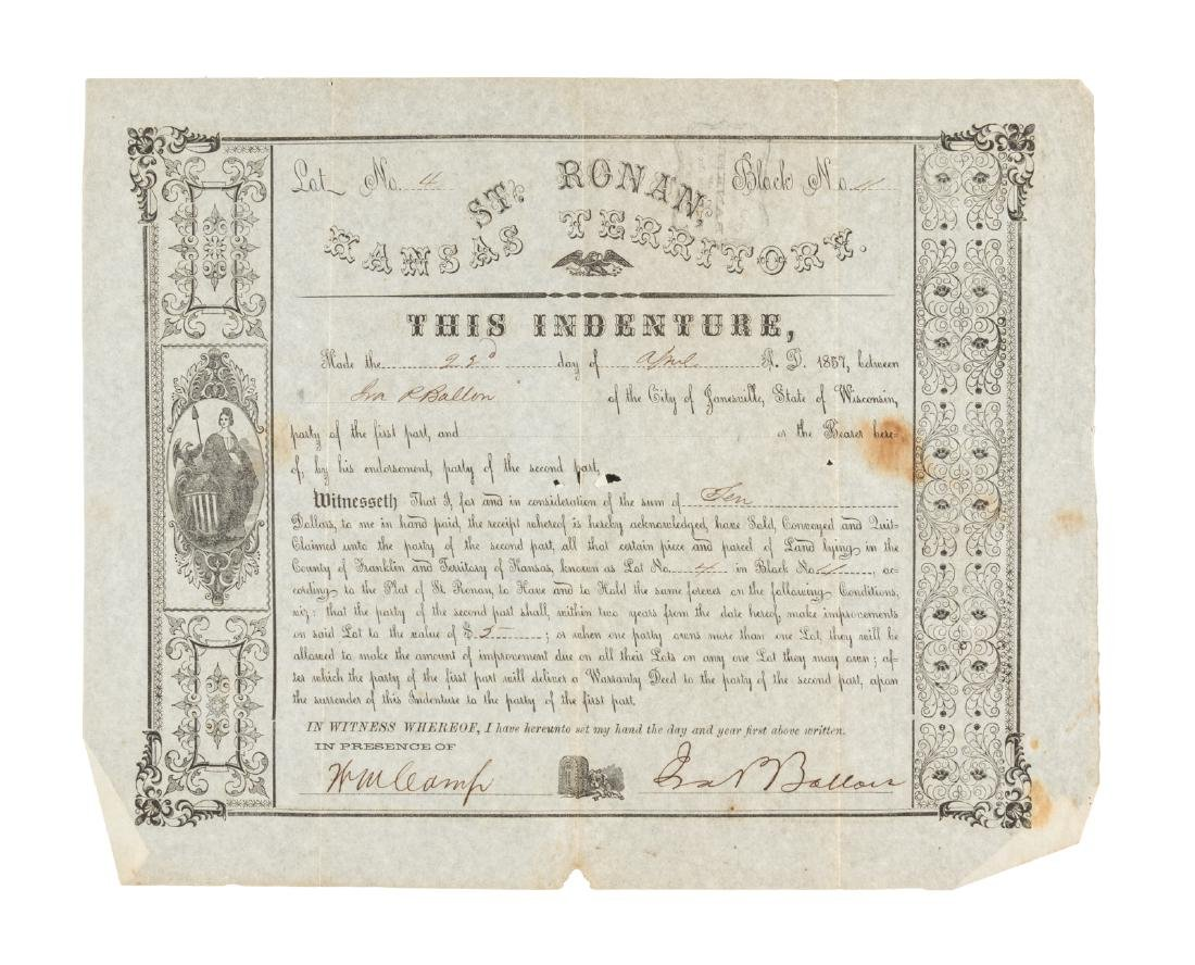 Bill of Sale for land in the Kansas Territory 1857