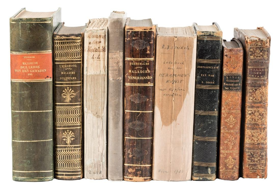 Lot of nine 18th-19th c. medical volumes