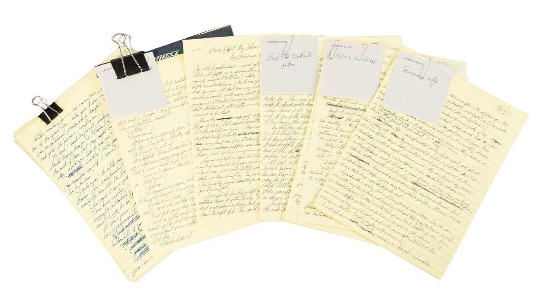Five original manuscripts by Lawrence Block