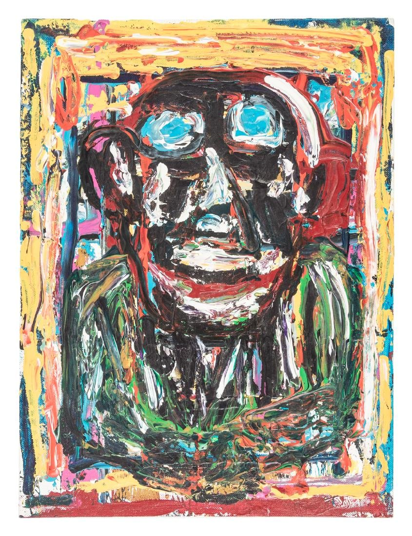 Self portrait in oil by Charles Bukowski
