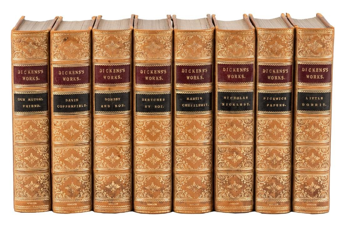 8 volumes of the work of Charles Dickens