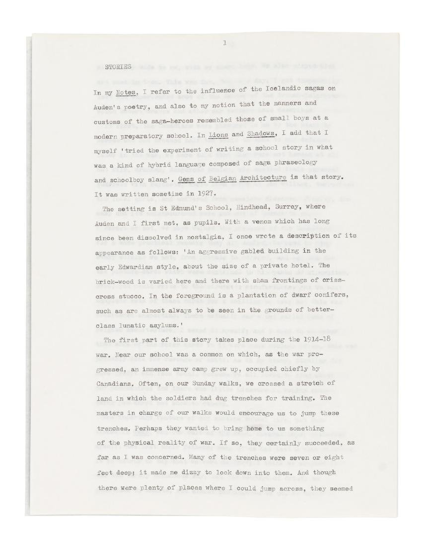 Christopher Isherwood 10 pp. typed manuscript - signed