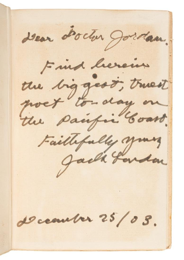 Jack London inscribes Sterling's 1st book