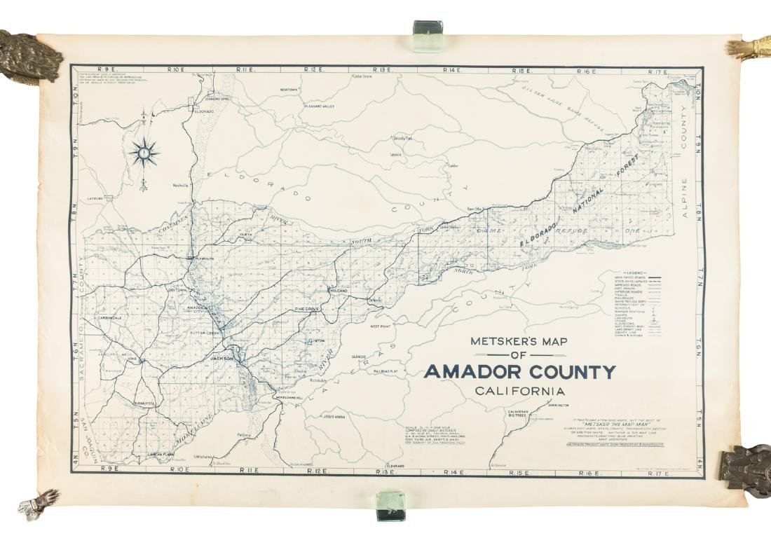 Scarce blue line map of Amador County