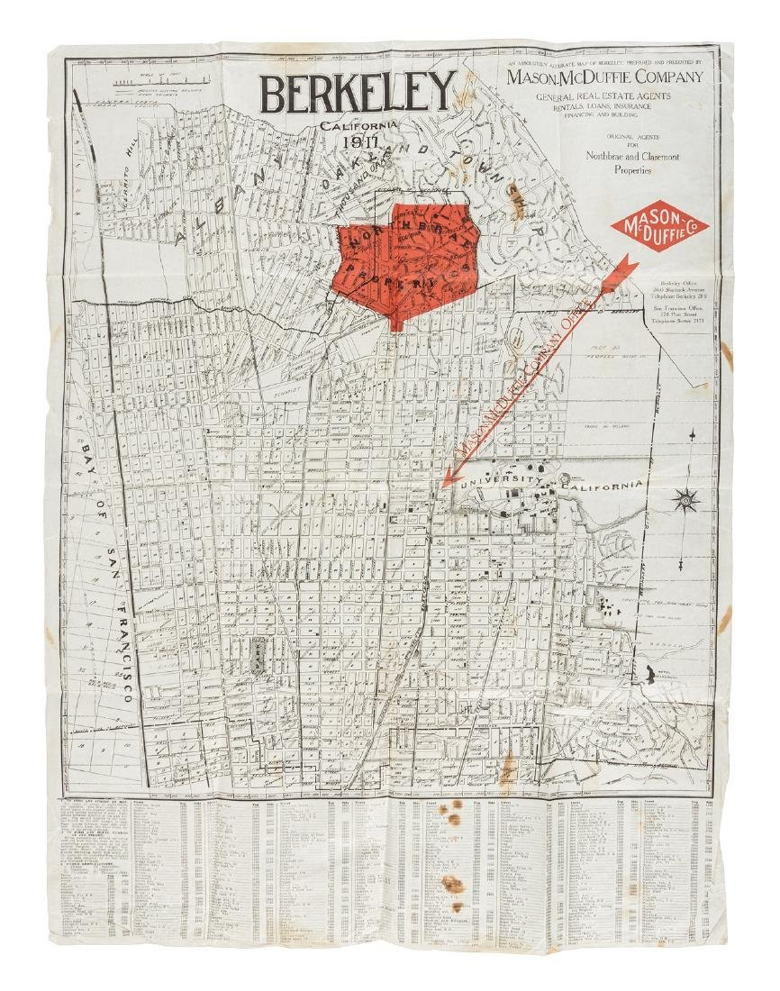Map of Berkeley highlighting Northbrae Properties, 1917