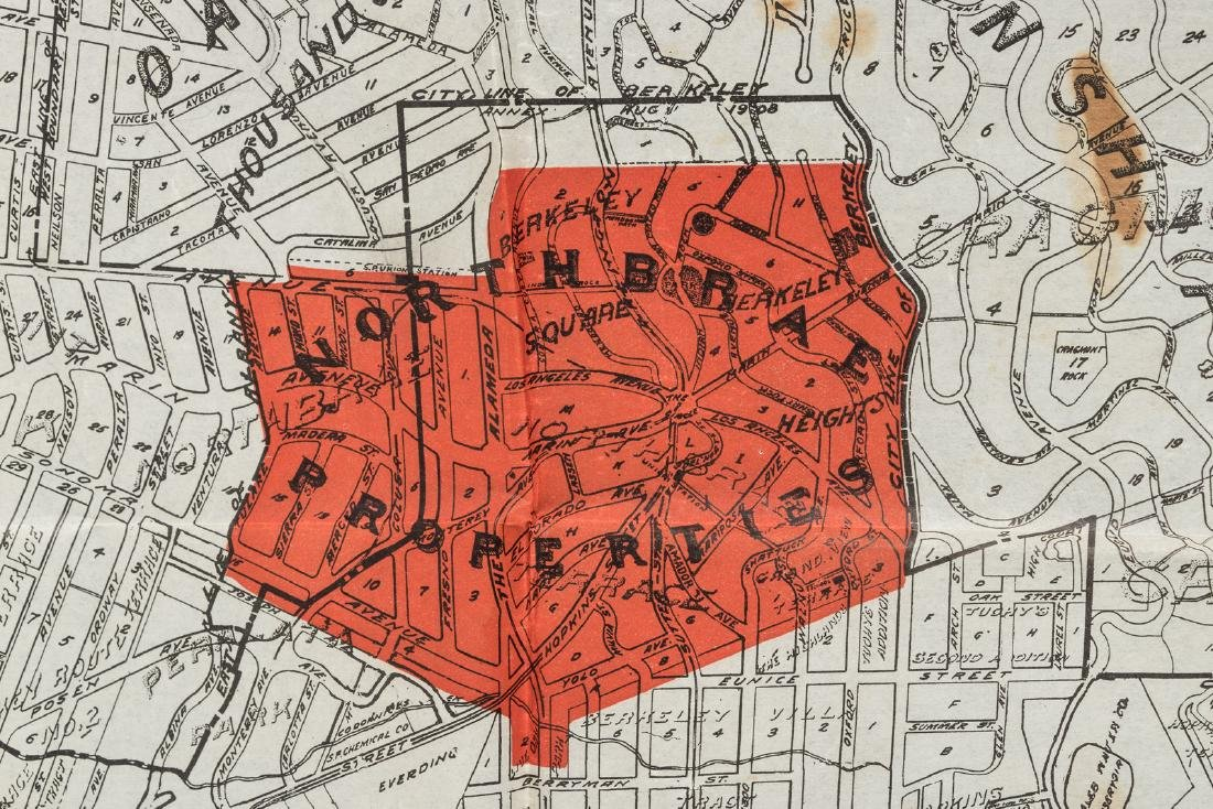 Map of Berkeley highlighting Northbrae Properties, 1917 - 2