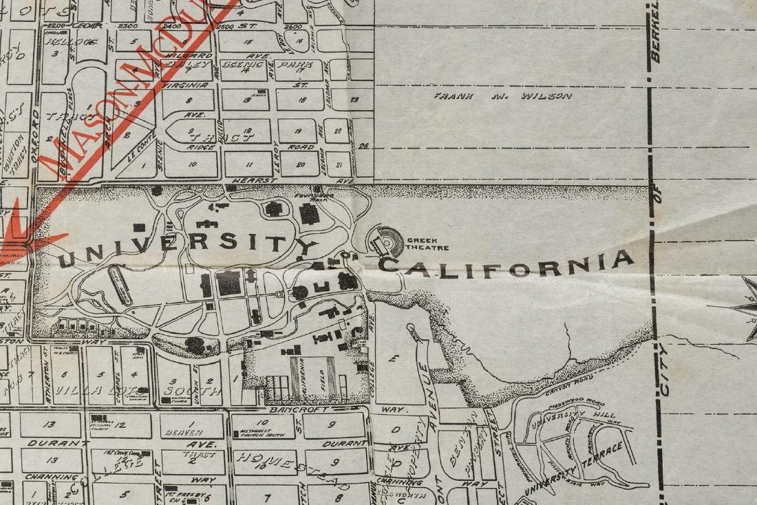 Map of Berkeley highlighting Northbrae Properties, 1917 - 4