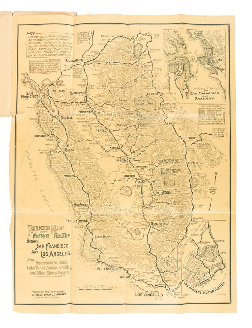 Map of motor routes in California 1920