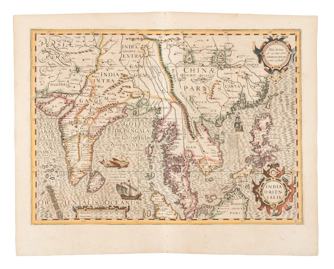 Hondius map of India and southeast Asia