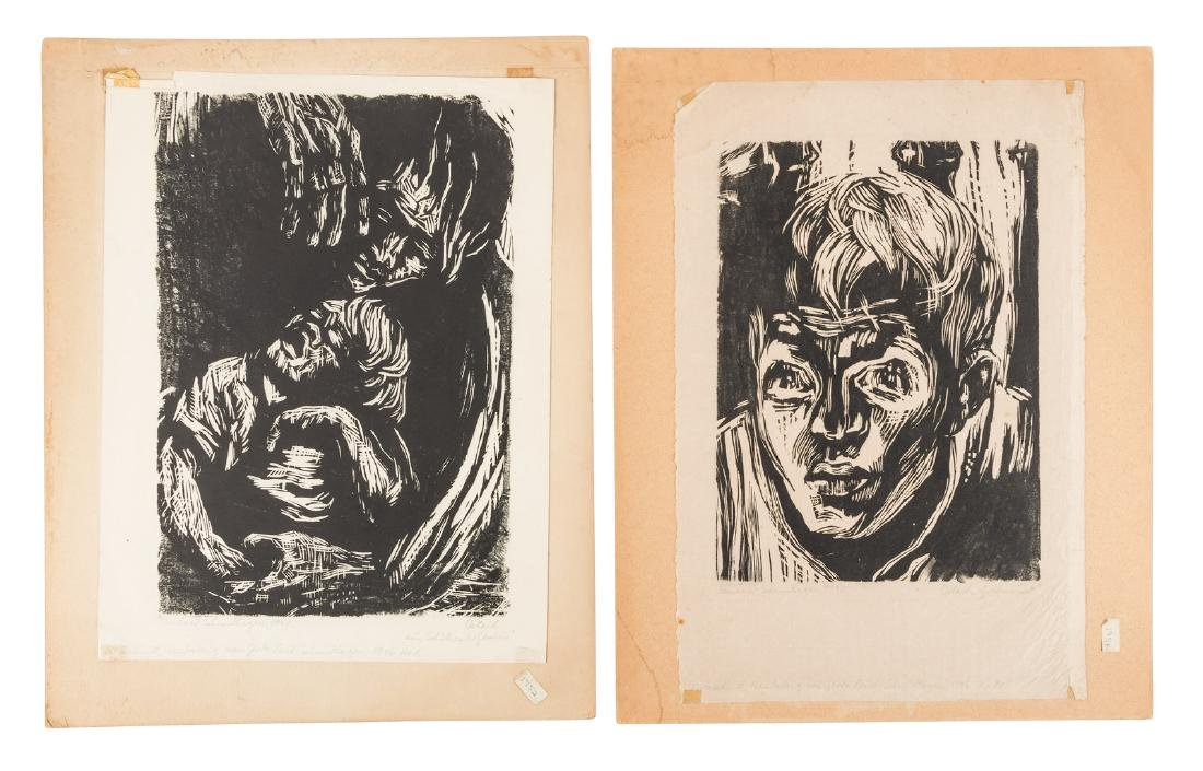 Two woodcuts by Reinhard Schmidhagen