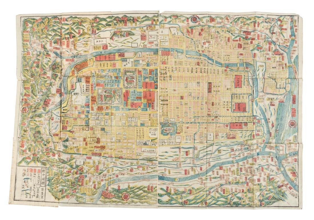 Woodblock map of Imperial City, Kyoto, Japan 1864