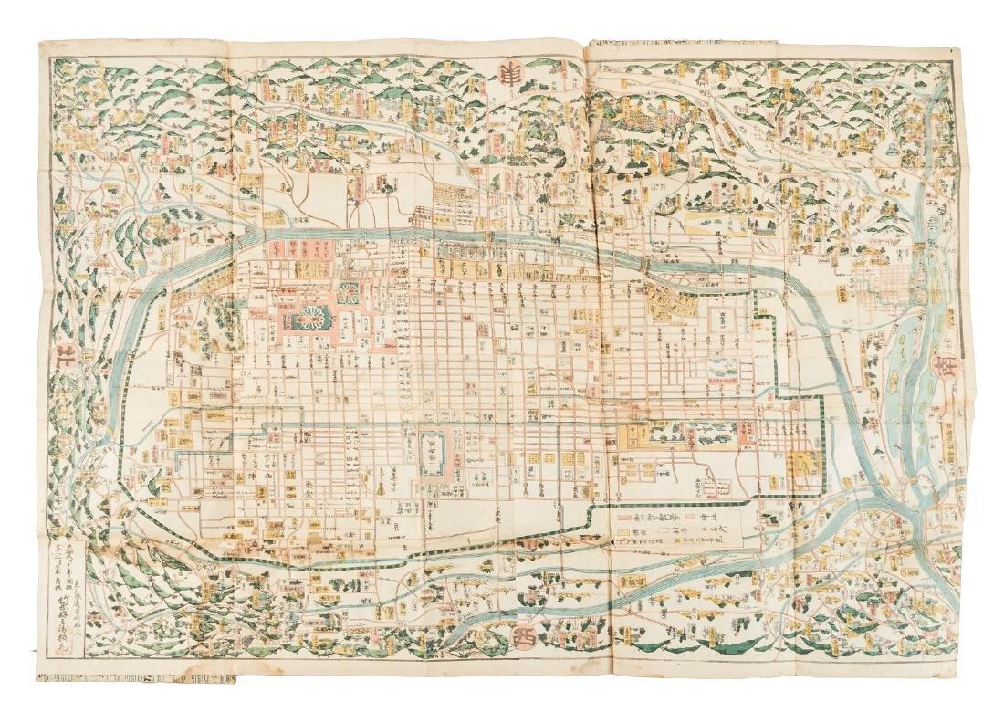 Woodblock map of Kyoto, Japan 1862
