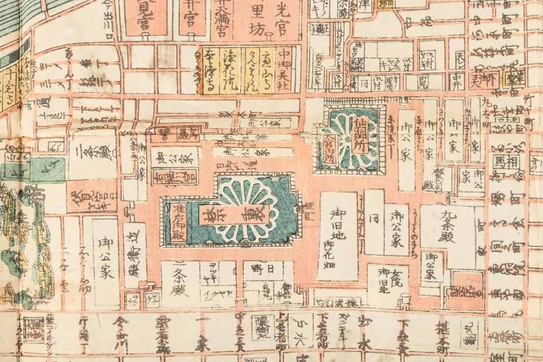 Woodblock map of Kyoto, Japan 1862 - 3
