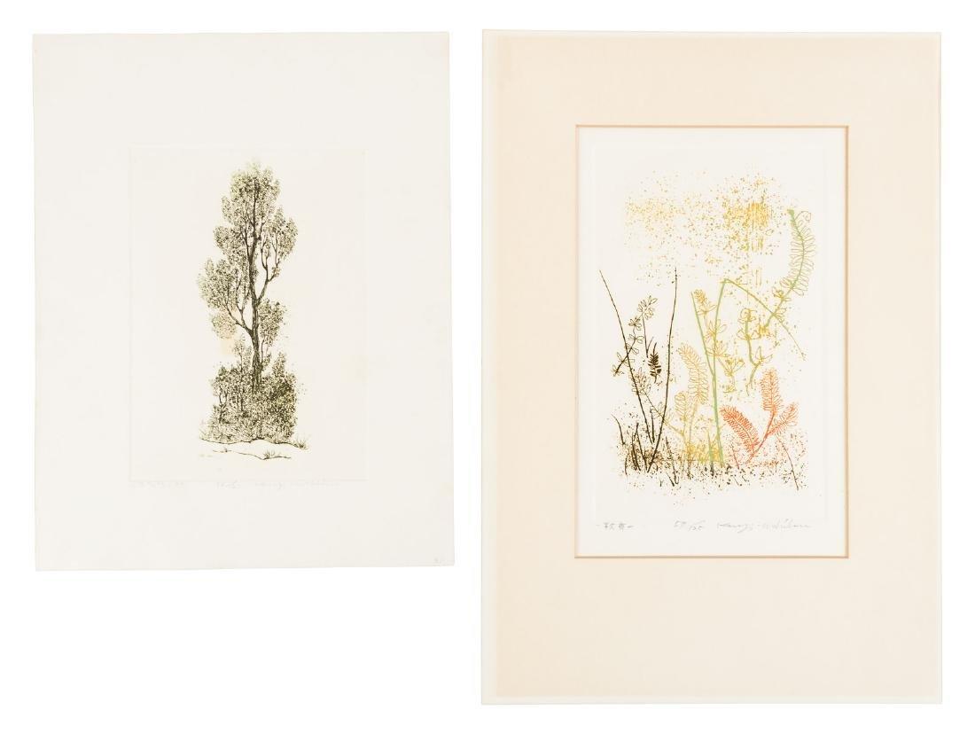 Kenji Ushiku, two color etchings