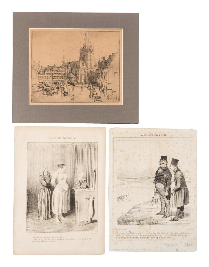Three prints, 2 by Daumier