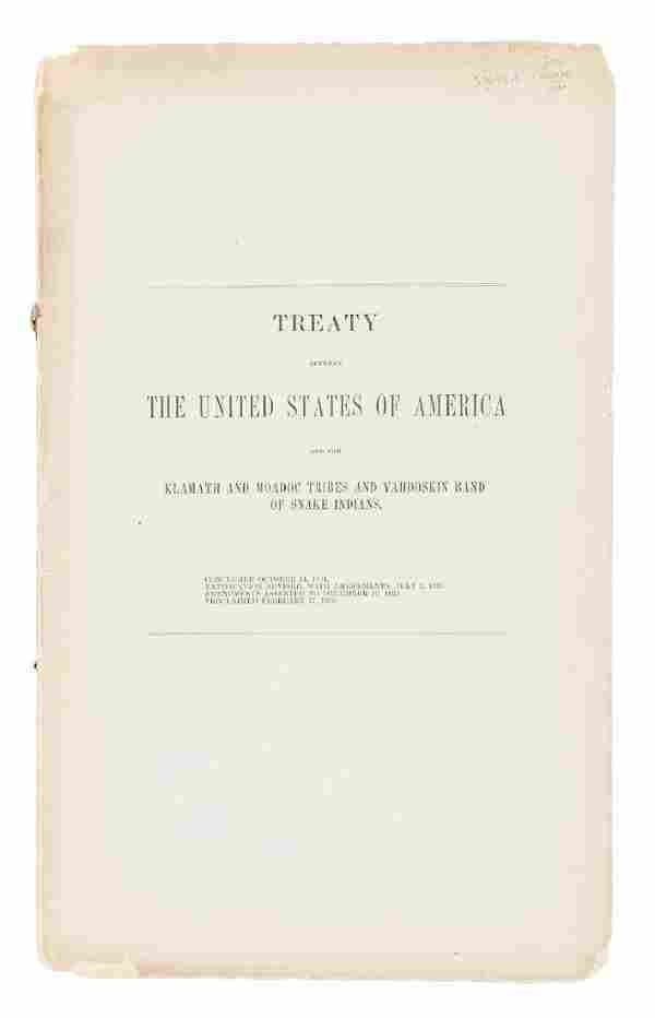 Treaty between the US and the Klamath, Modoc &