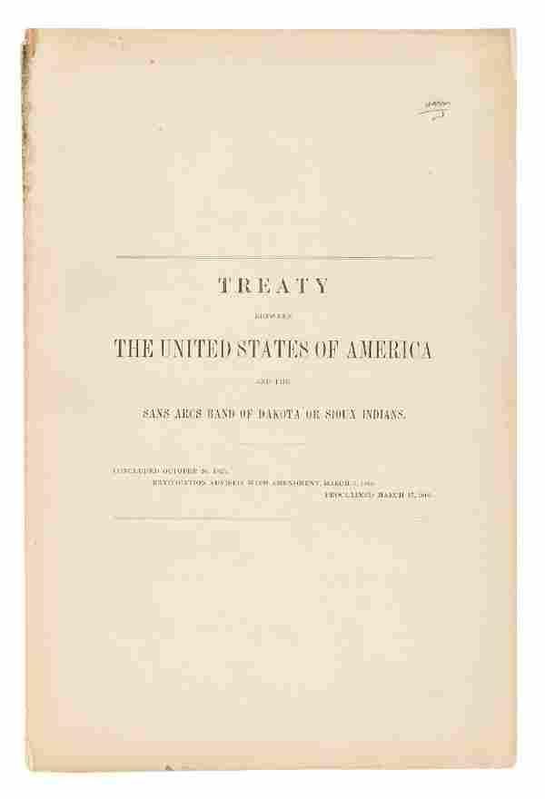 Treaty between the US and Sans Arcs