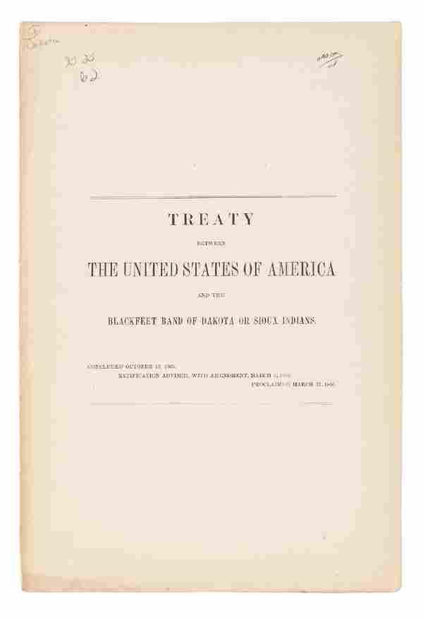 Treaty between US and Blackfeet Bank (Sioux)