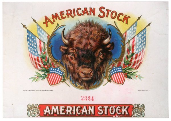 8: AMERICAN LITHO CIGAR LABEL American Stock, Bison