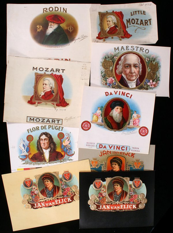 9: ARTISTS CIGAR LABELS Da Vinci Rodin Mozart Puget