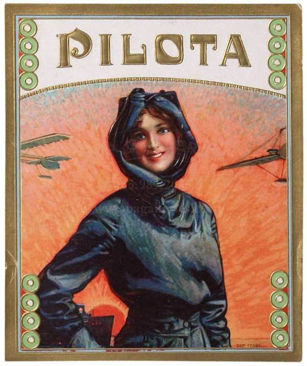 10: HARRIET QUIMBY CIGAR LABEL Female Pilot, Aviation