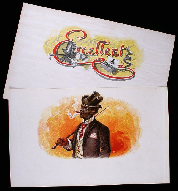 12: CIGAR BOX LABEL Fashionable Black Man In Top Hat