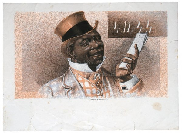 13: HARRIS CIGAR LABEL 4.11.44, Black Man In Top Hat
