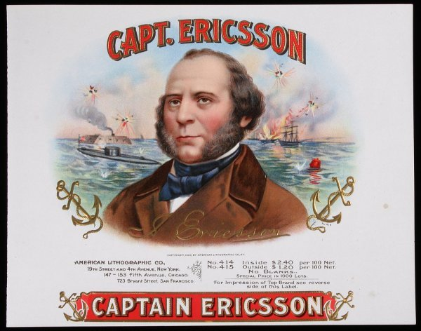 18: CIVIL WAR CIGAR BOX LABEL, Capt. Ericsson
