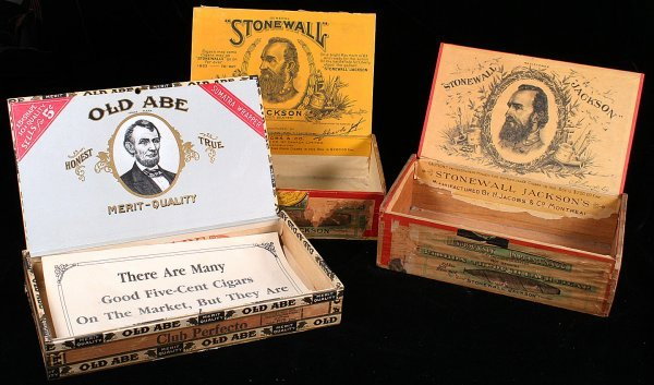 21: CIVIL WAR CIGAR BOXES Stonewall Jackson, Old Abe