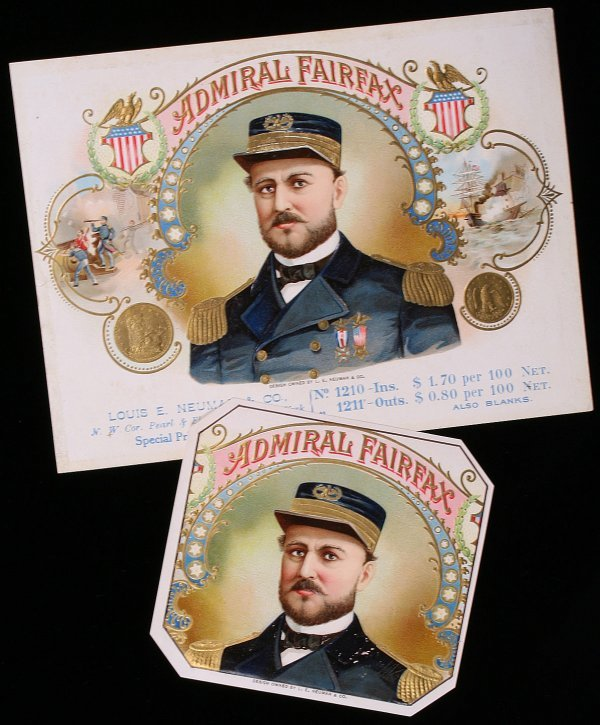 23: NEUMAN CIGAR LABEL Admiral Fairfax, Civil War