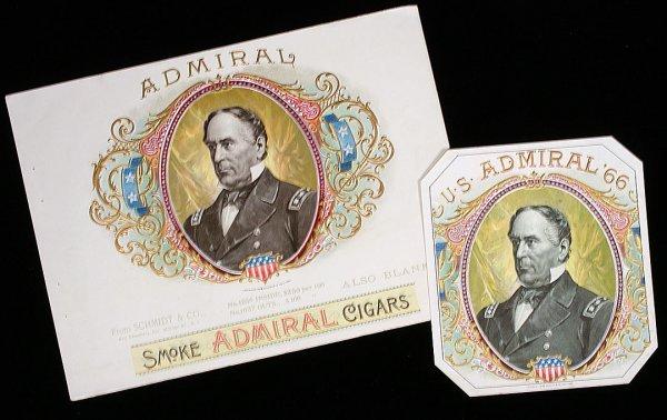 25: SCHMIDT CIGAR LABELS Admiral Farragut Civil War