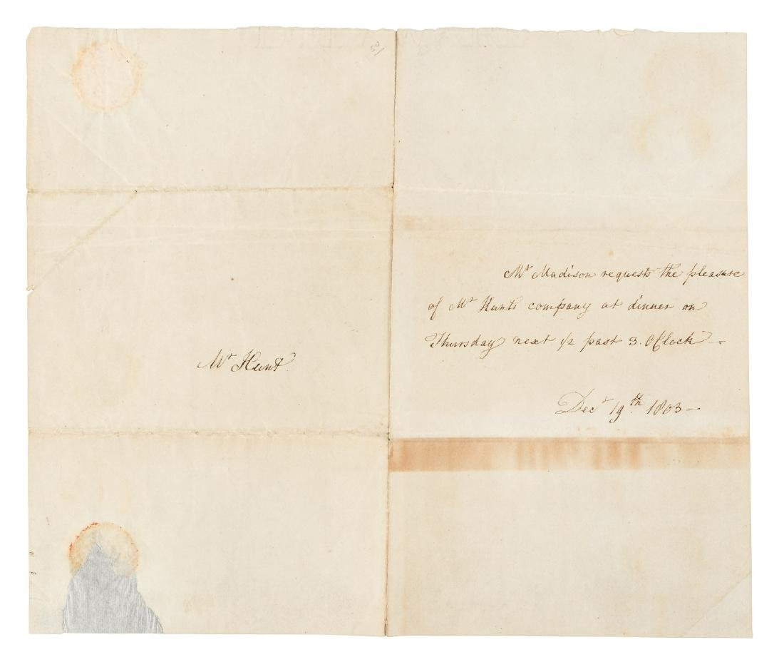 Invitation to dinner from Dolley Madison