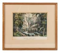 Bridal Veil Fall Yosemite handcolored lithograph