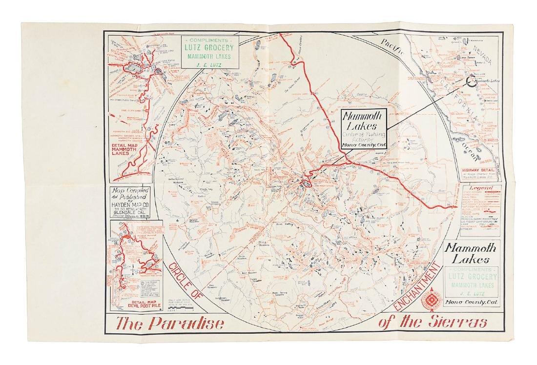 Map Of California Lakes.Rare Map Of Mammoth Lakes California Aug 23 2018 Pba Galleries