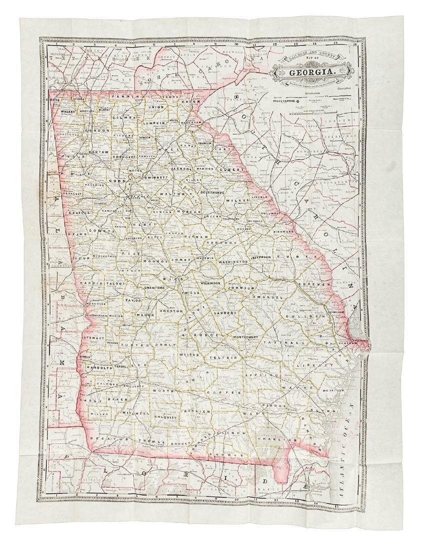 Cram's folding map of Georgia, 1888