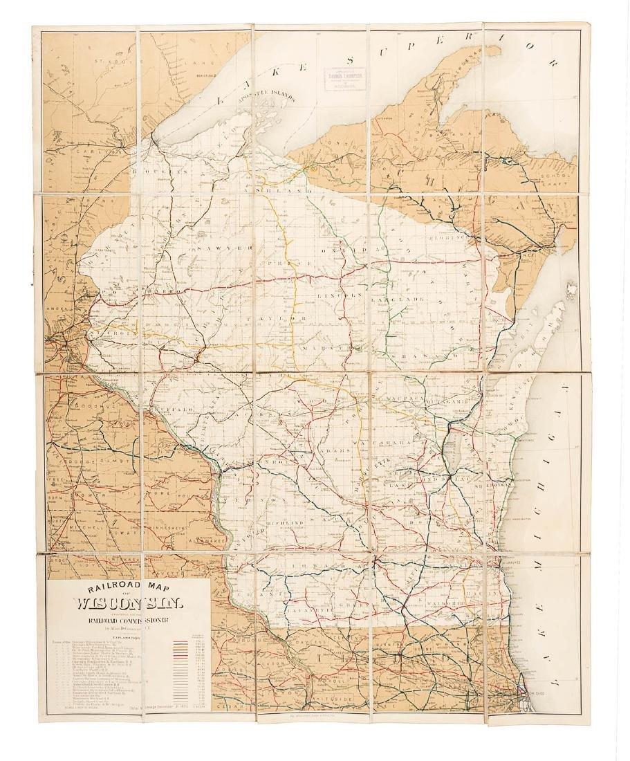 Scarce railroad map of Wisconsin 1891