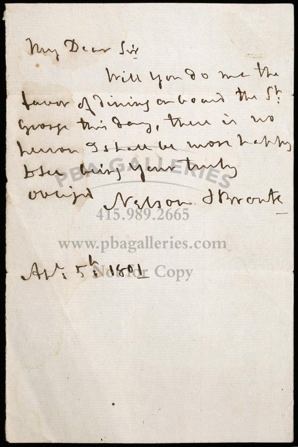 2143: Autograph Letter signed by Nelson, inviting Willi