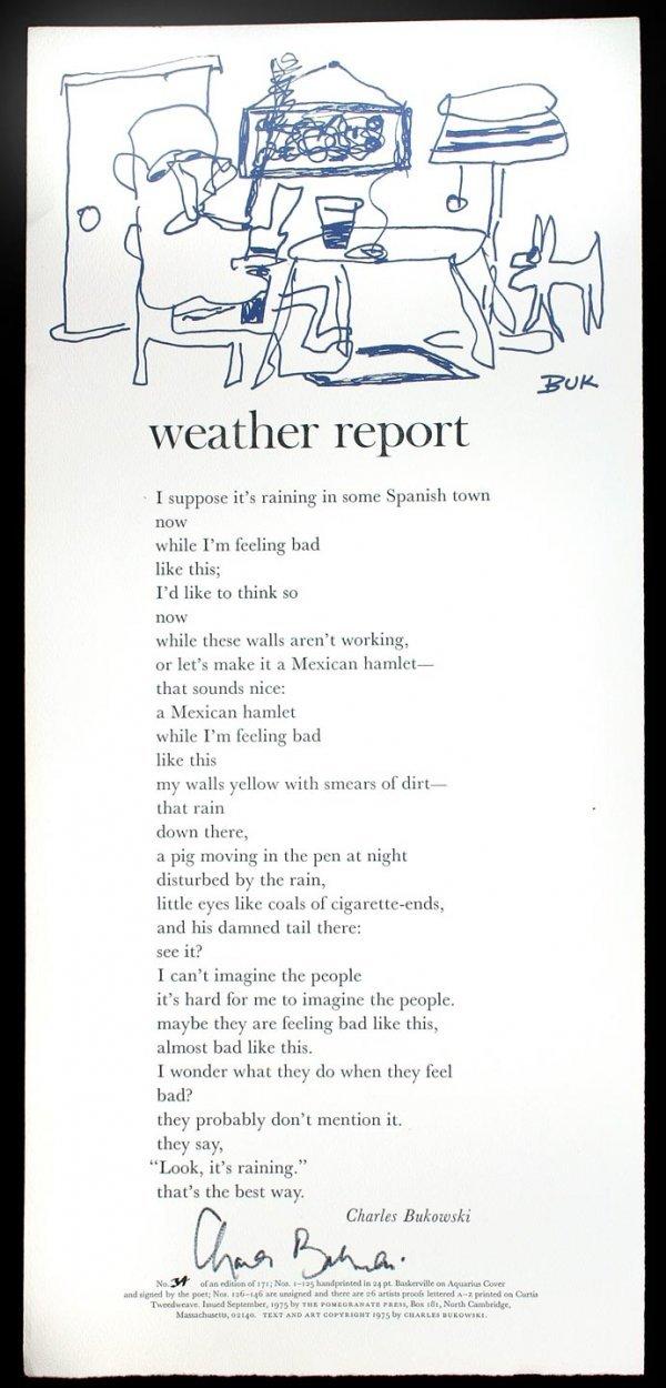 21: Bukowski Weather Report broadside signed ltd.