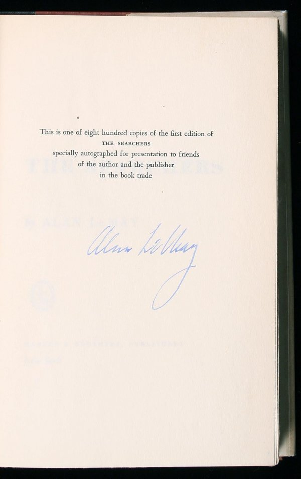 76: Alan Le May The Searchers signed limited book