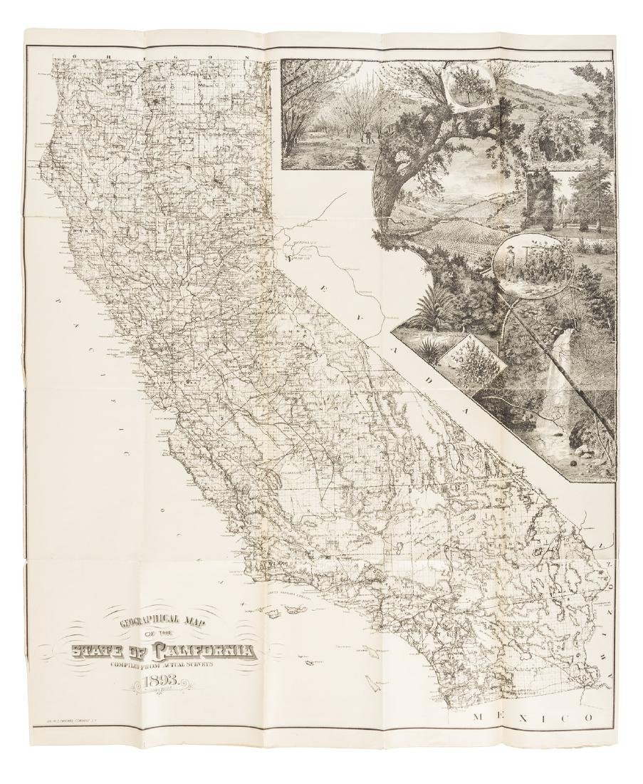 Geographical Map of California 1893