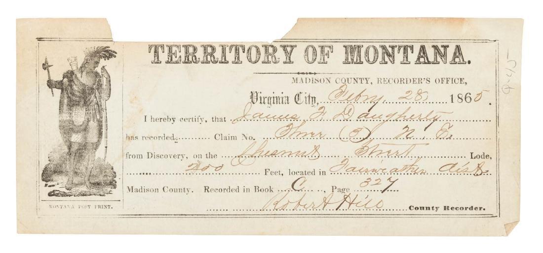 Early Montana Mining Claim Receipt