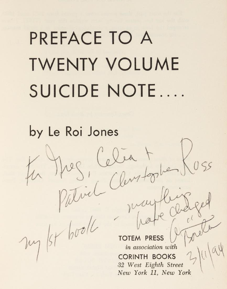 LeRoi Jones 1st book inscribed - 2