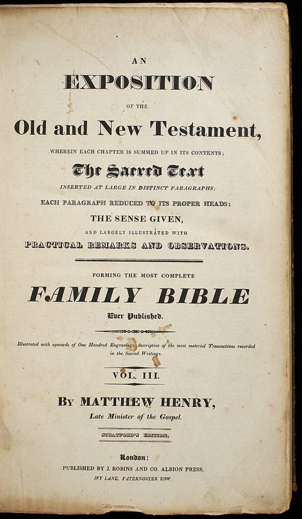 1014: Henry's Exposition of the Bible c.1793